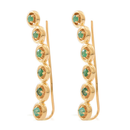Kagem Zambian Emerald (Rnd) Earrings in 14K Gold Overlay Sterling Silver 1.250 Ct.
