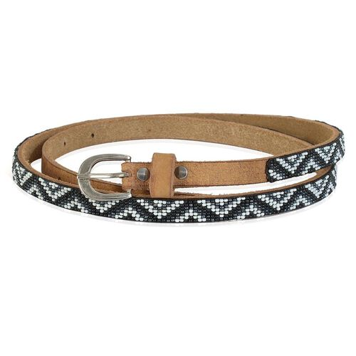 Genuine Leather Handmade Black, White and Grey Colour Seed Beaded Belt (Size 110x1.25 Cm)