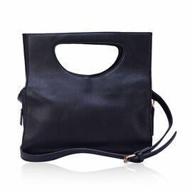 Black Colour Tote Bag with Adjustable Shoulder Strap (Size 31x18x10 Cm)
