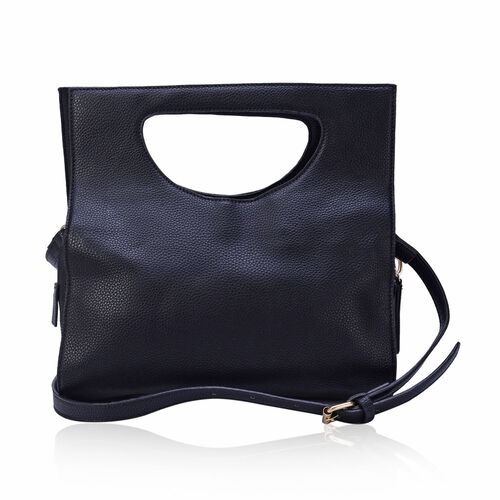 Black Colour Tote Bag with Adjustable Shoulder Strap (Size 31x18x10 Cm)