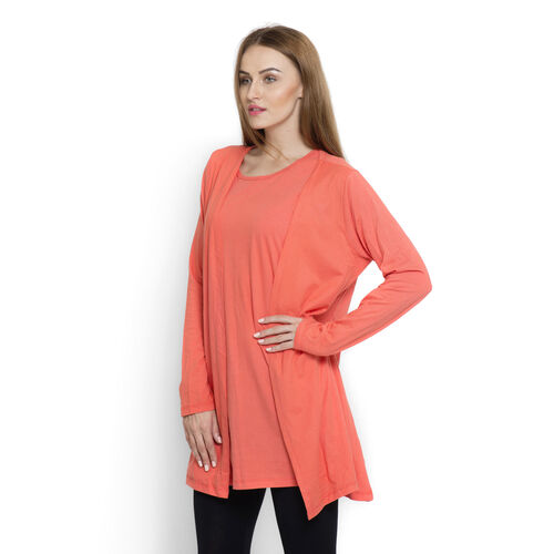 Set of 2 -  Dark Coral Colour Long Sleeve Tank Top Cardigan (Size Small / Medium)