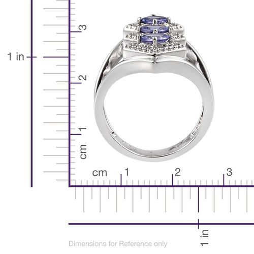 Tanzanite (Ovl) Trilogy Ring in Platinum Overlay Sterling Silver 1.250 Ct.