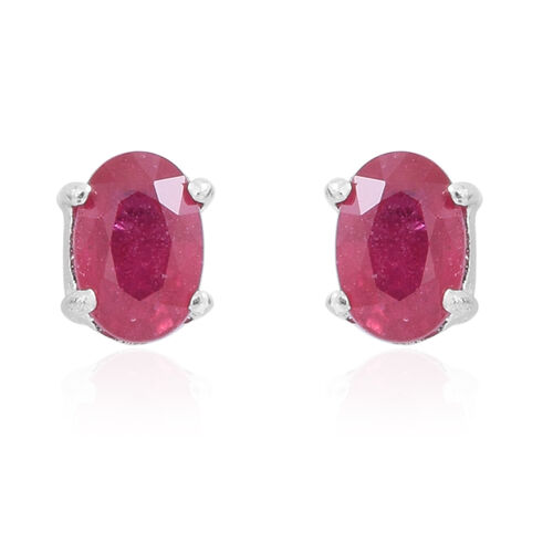 AA African Ruby (Ovl) Stud Earrings (with Push Back) in Rhodium Plated Sterling Silver 1.250 Ct.