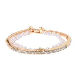 AAA White Austrian Crystal Bangle (Size 6.5) in Yellow Gold Tone