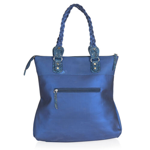 Blue Colour Hand Bag with External Zipper Pocket (Size 12x3.5x10 inch)