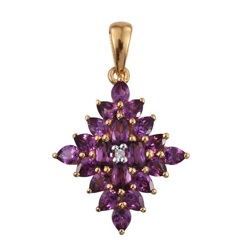 Rare Mozambique Grape Colour Garnet (Ovl), Natural Cambodian Zircon Pendant in 14K Gold Overlay Sterling Silver 4.500 Ct.