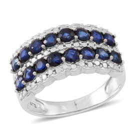 Kanchnaburi Blue Sapphire (Rnd) Ring in Rhodium Plated Sterling Silver 2.500 Ct.