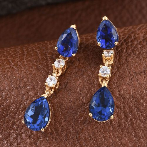 Ceylon Colour Quartz (Pear), Natural Cambodian Zircon Earrings (with Push Back) in 14K Gold Overlay Sterling Silver 8.500 Ct.