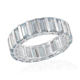 Sky Blue Topaz (Bgt) Full Eternity Ring in Platinum Overlay Sterling Silver 11.500 Ct.