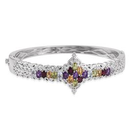 JCK Vegas Collection Rhodolite Garnet (Ovl), Sky Blue Topaz, Hebei Peridot, Amethyst and Citrine Bangle (Size 7.5) in Platinum Bond 5.250 Ct.