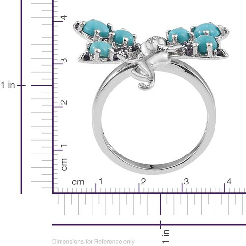 Sonoran Turquoise (Rnd), Iolite Angel Ring in Platinum Overlay Sterling Silver 2.250 Ct.