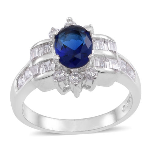 ELANZA AAA Simulated Blue Sapphire (Ovl), Simulated White Diamond Ring in Rhodium Plated Sterling Silver