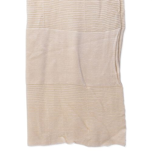 Off White Colour Pull Through Scarf (Size 150x60 Cm)