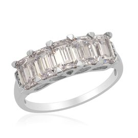 J Francis - Platinum Overlay Sterling Silver (Oct) 5 Stone Ring Made with SWAROVSKI ZIRCONIA  3.300 Ct.
