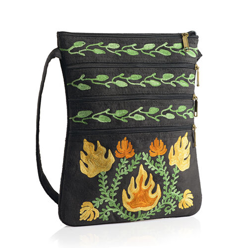 DOD - Hand Embroidered Multi Colour Flower Paisley Pattern Black Suede Fabric Sling Bag (Size 27x20 Cm)