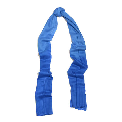 100% Cashmere Wool Ombre Blue Colour Scarf with Fringes (Size 200x70 Cm)