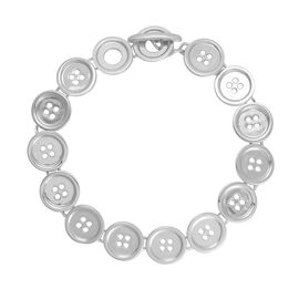 LucyQ Button Bracelet (Size 8) in Rhodium Plated Sterling Silver 21.82 Gms.