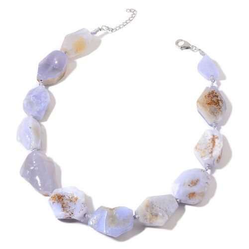 White Lace Agate Necklace (Size 18 with 2 inch Extender) in Rhodium Plated Sterling Silver 690.000 Ct.