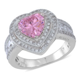 ELANZA AAA Simulated Pink Sapphire (Hrt), Simulated White Diamond Ring in Rhodium Plated Sterling Silver