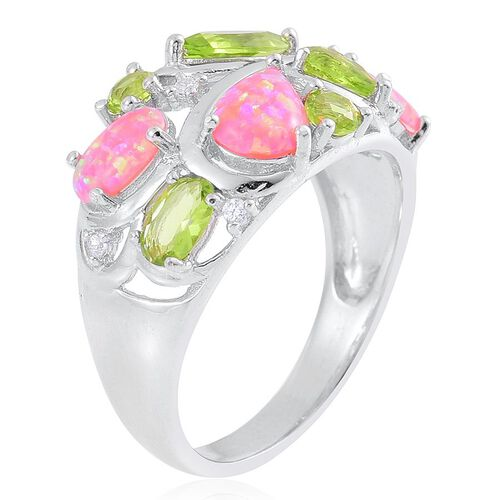 Enhanced Simulated Pink Opal, Simulated Peridot and Simulated White Diamond Ring in Sterling Silver