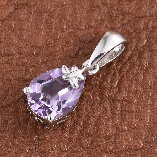 Rose De France Amethyst (Pear) Solitaire Pendant in Platinum Overlay Sterling Silver 1.750 Ct.