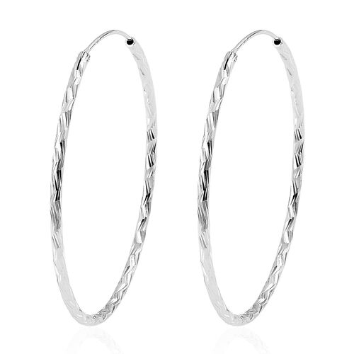 Rhodium Plated Sterling Silver Hoop Earrings (with Clasp)