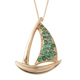 Kagem Zambian Emerald (Rnd) Yacht Pendant With Chain in 14K Gold Overlay Sterling Silver 2.000 Ct.