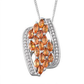 Orange Sapphire (Mrq), Diamond Pendant With Chain in Platinum Overlay Sterling Silver 2.010 Ct.