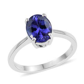 RHAPSODY 950 Platinum 2.25 Carat AAAA Tanzanite Oval Solitaire Ring