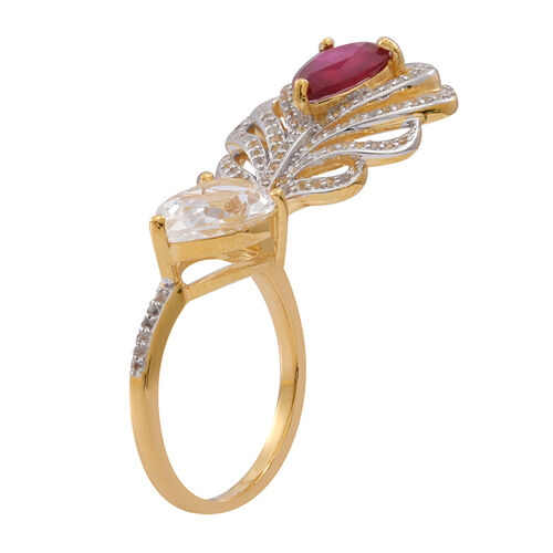 African Ruby (Pear 2.75 C), White Topaz Ring in 14K Gold Overlay Sterling Silver 7.000 Ct.