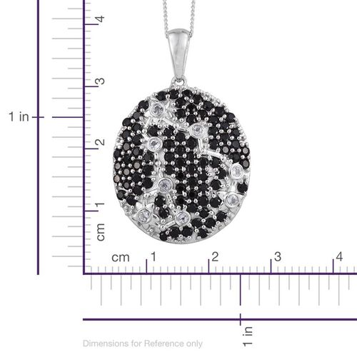 Night Sky Boi Ploi Black Spinel, White Topaz Silver Pendant With Chain in Platinum Overlay 2.750 Ct.