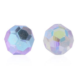 AB Mystic Colour Faceted AAA Austrian Crystal (Rnd 8MM) Stud Earrings (with Push Back) in Sterling Silver 8.000 Ct.