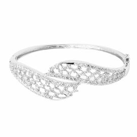 AAA Simulated White Diamond (Rnd) Geometric Bangle in Sterling Silver (Size 7.5) 2.900 Ct.
