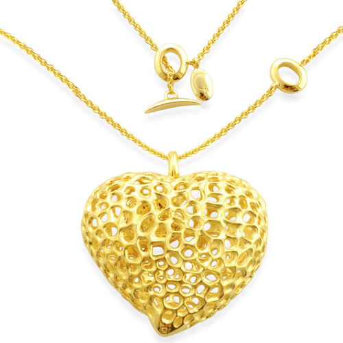 RACHEL GALLEY 14K Gold Overlay Sterling Silver Amore Heart Locket Pendant with Chain, Silver wt 32.00 GM
