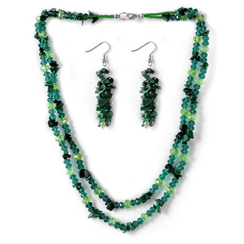 Jewels of India Malachite, Glass Beads Necklace (Size 20) and Hook Earrings in Silver Tone 262.860 Ct.