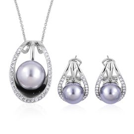 AAA White Austrian Crystal Pendant With Chain and Earrings (with French Clip) in Silver Tone with Stainless Steel