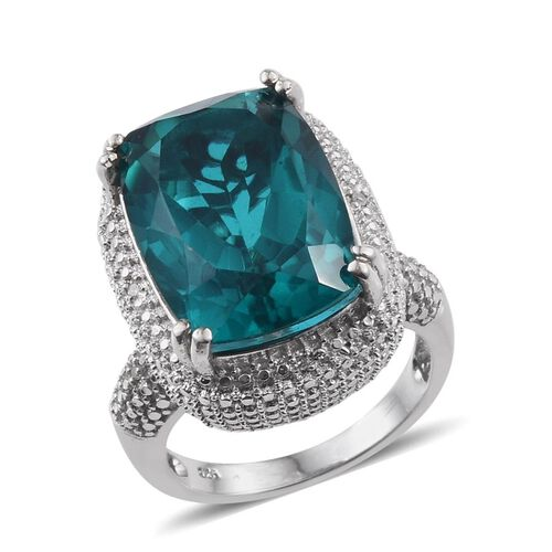Capri Blue Quartz (Cush 14.00 Ct), Diamond Ring in Platinum Overlay Sterling Silver 14.030 Ct.
