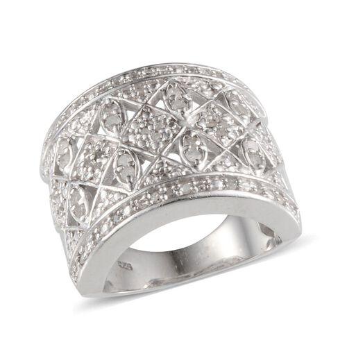 Diamond (Rnd) Ring in Platinum Overlay Sterling Silver 0.500 Ct.