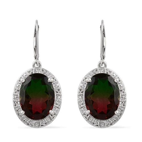 Tourmaline Colour Quartz (Ovl) Earrings in Platinum Overlay Sterling Silver 17.000 Ct.