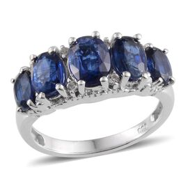 Himalayan Kyanite (Ovl 1.75 Ct), White Topaz Ring in Platinum Overlay Sterling Silver 5.000 Ct.