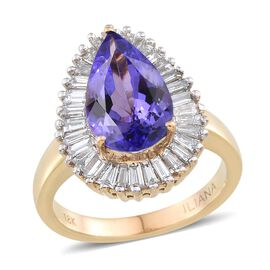 ILIANA 18K Y Gold AAA Tanzanite (Pear 3.10 Ct), Diamond Ring 4.000 Ct.