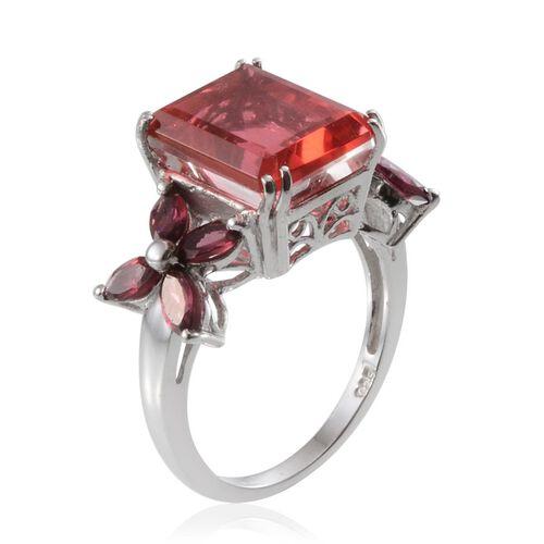 Padparadscha Colour Quartz (Oct 6.25 Ct), Rhodolite Garnet Ring in Platinum Overlay Sterling Silver 7.750 Ct.