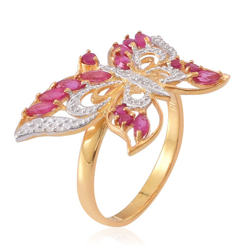 Burmese Ruby (Mrq) Butterfly Ring in 14K Gold Overlay Sterling Silver 1.250 Ct.