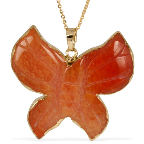 Hand Carved Yellow Agate Butterfly Pendant With Chain in Gold Tone 100.000 Ct.