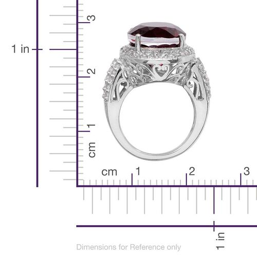 Rubelite Colour Quartz (Ovl 11.75 Ct), White Topaz Ring in Platinum Overlay Sterling Silver 12.750 Ct.