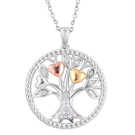 ELANZA AAA Simulated White Diamond Tree of Life Pendant With Chain in Rhodium Plated, Yellow and Rose Gold Overlay Sterling Silver. Silver wt 7.15 Grams