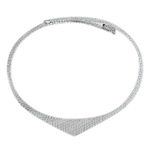 (Option 2) Vicenza Collection Rhodium Plated Sterling Silver Cleopatra Necklace (Size 18), Silver wt 25.40 Gms.