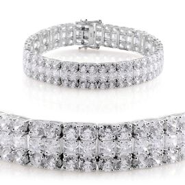 J Francis - Platinum Overlay Sterling Silver (Oct) Bracelet Made with SWAROVSKI ZIRCONIA (Size 8) 31.680 Ct.