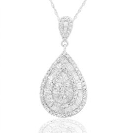 ILIANA 18K W Gold SGL Certified Diamond (Bgt) (SI/ G-H) Teardrop Pendant With Chain 0.750 Ct.
