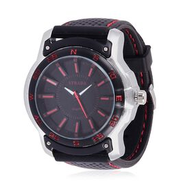 STRADA Japanese Movement Black and Red Dial Water Resistant Watch in Silver Tone with Stainless Back and Black Silicone Strap